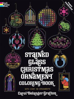 Stained Glass Christmas Ornament Colouring Book