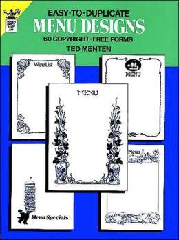 Easy-to-Duplicate Menu Designs: 60 Copyright-Free Forms