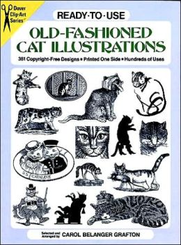 Ready-to-Use Old-Fashioned Cat Illustrations