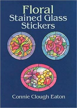 Floral Stained Glass Stickers: 20 Pressure-Sensitive Designs
