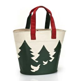 Green Tree Deer & Birds Holiday Canvas Tote (12.25