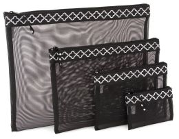 Quatrefoil Black & White Mesh Pouch set of 4