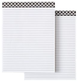 Quatrefoil Black & White Memo Pads Set of 2 - 6'' x 8''