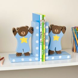 Blue Teddy Bears Wooden Bookends