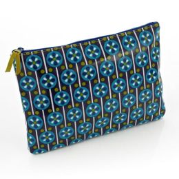 Jonathan Adler Meadow Mosaic Blue Teal Accessory Pouch (7x10)
