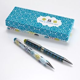 Jonathan Adler Meadow Mosaic Blue Teal Pen & Pencil Set