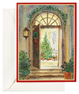 Red Building In Snow Christmas Boxed Card