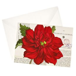 Red Flower With Text Christmas Boxed Card