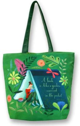 Sarah Wilkins Garden in Your Pocket Green Microfiber Tote Bag (16.5x13.5x5.5)