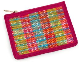 Pink Multi Chindi Woven Coin Pouch 5