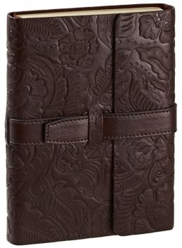Brown Leather Embossed Lined Bound Journal with Tab Closure