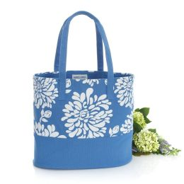 Blue Spider Mum Spring Canvas Tote Bag (16x7x14)