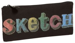 Black Sketch Canvas Pencil Pouch 4'' x 9''