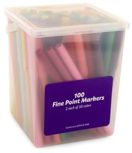 Fine Point Markers in Plastic Carrying Tub- Set of 100