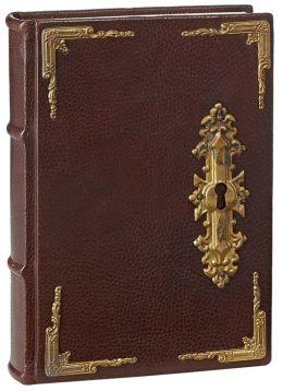 Antique Door Lock Brown Italian Leather Lined Bound Journal (6'' x 8.5'')