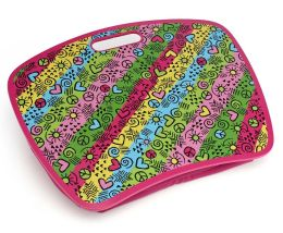 Graffiti Neon Stripe Pink Lap Desk with Zip Pocket
