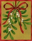 Product Image. Title: MISTLETOE W/RED RIBBON CHRISTMAS BOXED CARD