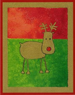 Red And Green Reindeer Christmas Boxed Card