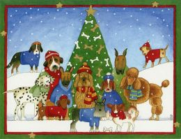 DOGGIE CHRISTMAS SCENE CHRISTMAS BOXED CARD