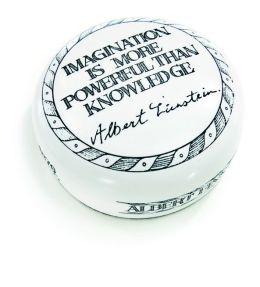 ''Imagination'' Einstein Resin Scrimshaw Paperweight 2.75''