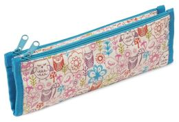 Nature & Owls Motif Canvas Double Zip Pouch 7