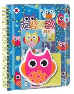 Hooty Owl Puffy Lined Wiro Journal 6