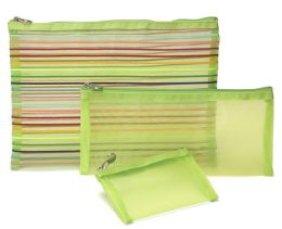 Rainbow Stripes Green Mesh Pouch Set of 3 - 9.75