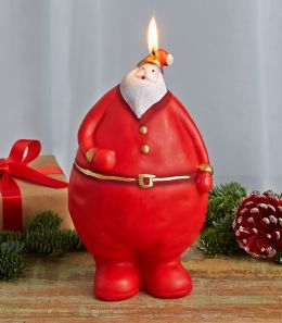 Red Jolly Santa with Round Belly Italian Candle - 7.5
