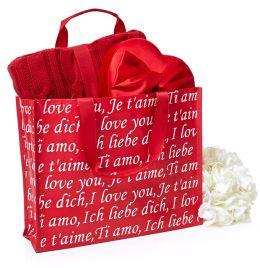I Love You Script Red & White Tote Bag (15