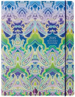 2015 Monthly Planner 7.5x9.75 Indian Paisley Sewn Engagement Calendar
