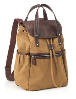 Acorn Canvas Backpack with Double Leather Look Handles (16 x 6x 12)