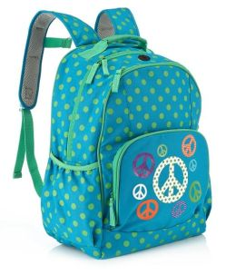 Turquoise Peace & Dots Nylon Backpack (16 x 12 x 7)