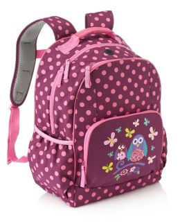 Purple Owl & Dots Nylon Backpack (16 x 12 x 7)