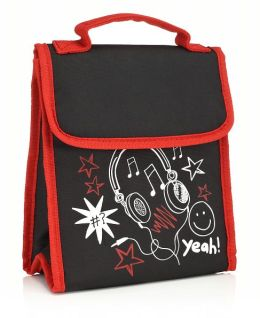 Black Awesome Fold Over Lunch Tote (9.5 x 8 x 4)