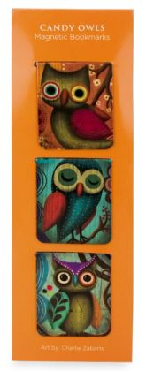 Charles Zabarte Candy Owls 3 Pc Medium Magnetic Bookmark