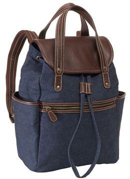 Dark Denim Canvas Backpack with Brown Leather Look Handles 16