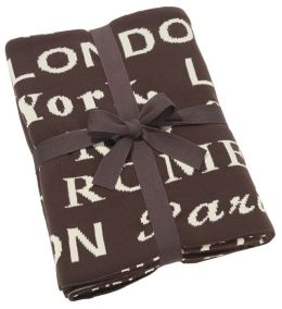 Destination Chocolate Brown & Ivory 100% Cotton Throw 50