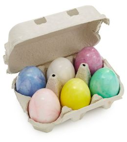 Set of 6 Alabaster Handcrafted Pastel Eggs in Crate