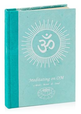 Blue Meditating on Om Blank Bound Handmade Journal 6x8