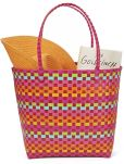 Product Image. Title: Pink Multicolor Woven Summer Tote 17'' x 7'' x 14''