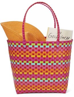 Pink Multicolor Woven Summer Tote 17'' x 7'' x 14''