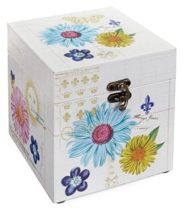 Printemps Fleur Fabric Hinged Box 6'' x 6'' x 6''