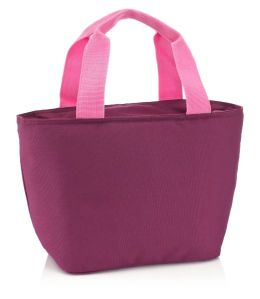 Purple & Pink Basket Lunch Tote 13 X 8 X 5