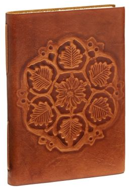 Antique Debossed Leaves Brown Italian Leather Journal-Lined 6