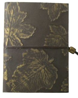 Embossed Dark Brown Embossed Gold Leaves Journal w/Gold Bead Tie-Lined-(6''x8'')