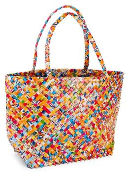 Multi Colors Large Recycled Juice Label Shopper's Tote (11x17.5x5)