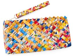 Multi Colors Recycled Juice Label Pencil Pouch (10x4)