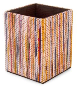 Multi Stripe Recycled Newsprint Square Pencil Cup (3.5x4.25)