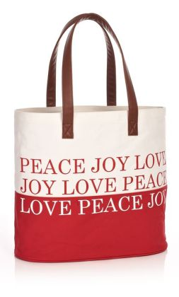 Peace, Joy, Love Red Canvas Holiday Tote Bag (12.25 x 14.25)