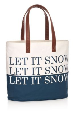 Let It Snow Blue Canvas Holiday Tote Bag (12.25 x 14.25)